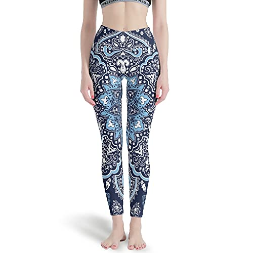 Bestwe Blau Mandala Lotus Damen Yoga Hose Sport Hosen Lange High Waist Blinkdicht Yoga Leggings Fitnesshose Laufhose Freizeithose Gym Workout Leggings White s