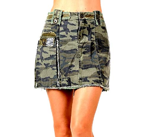 Jack David Womens Juniors Sexy Army camo Camouflage Denim Jeans Cargo Mini Skirt (S, CAMO Mini-Skirt #116)