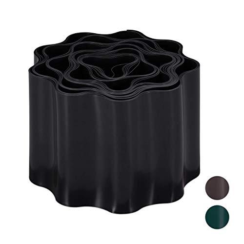 Relaxdays, schwarz Flexible Rasenkante, wellige Beeteinfassung aus Kunststoff, Umrandung für Rasen & Beet, HT: 10x900 cm