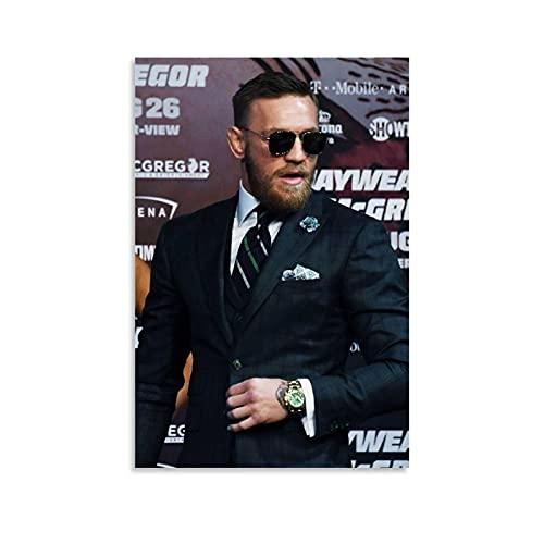 WATERINK Conor McGregor Poster mit grünem Anzug, dekoratives Gemälde, Leinwand, Wandkunst, Wohnzimmer, Poster, Schlafzimmer, Gemälde, 40 x 60 cm