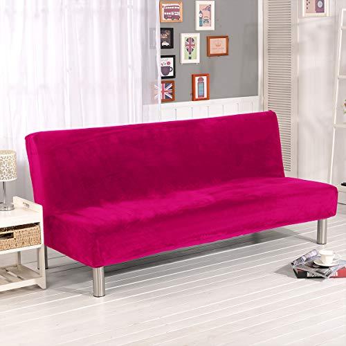 WINS Housse de canapé-lit Housse clic clac Extensible 3 Places Housse de canapé sans Bras en Velours Housse canape clic clac antidérapante Housse de futon