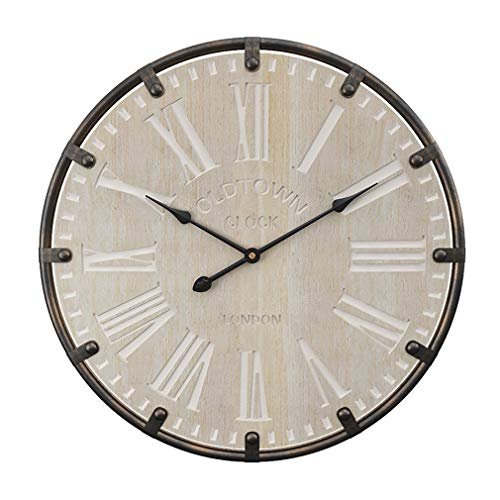JYCTD Creative Reloj De Pared, Redondo Elegante Moderno Elegante Silencioso Que No Hace Tictac DecoracióN Sencilla para Las Salas Estar Habitaciones Cocinas con Pilas, Brown