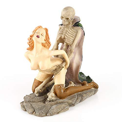 VOANZO Figura de calavera de resina coleccionable, modelo de decoración de esqueleto para Halloween decoración del hogar