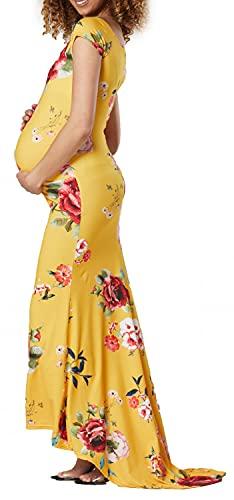 Zeta Ville Damen Mutterschaft Meerjungfrau Stil Fotoshooting Kleid 1276 (Senf mit Blumen, 44, 2XL)