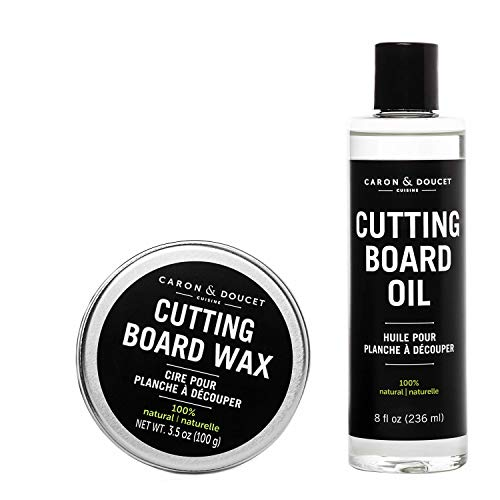 Caron & Doucet - Cutting Board & Butcher Block Conditioning Oil & Wood Finishing Wax Bundle | 100% Plant-Based & Vegan, Best for Wood & Bamboo Conditioning & Sealing | Does NOT Contain Mineral Oil!