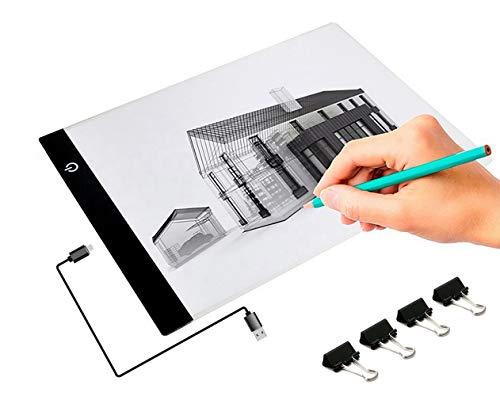 sinzau A4 LED Zeichnung Pad, Einstellbare Helligkeit Lichtkasten Copy Board mit USB Kable, Ideal für Designen Kopiere (Mehrweg)