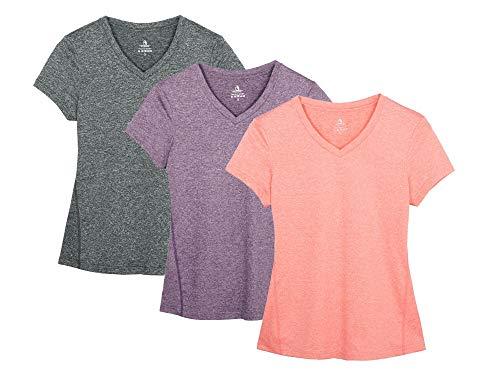 icyzone Camiseta de Fitness Causal Deportiva de Cuello en v de Manga Corta para Mujer, Pack de 3 -XXL-