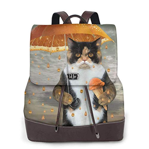 Mochila de piel para mujer, estilo casual, duradera, mochila escolar, con diseño de gato, sombrilla, diseño de limón