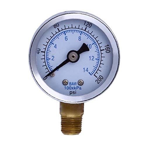 """Odoukey 1/8"""" 200 PSI Manometer Kraftstoff-Luftverdichter Meter Hydraulikdrucktester Doppelskala Druckmesser für Kraftstoff Luft Öl Flüssig"""