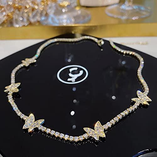 Diseño de Corea joyería de Moda Exquisito Cobre con Incrustaciones de circón Mariposa Colgante Sexy Collar de clavícula Femenina