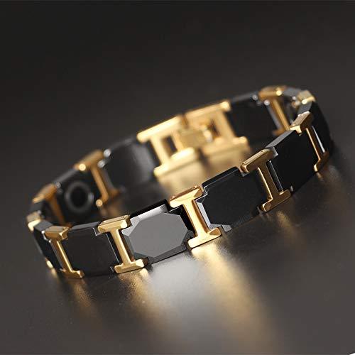 Roestvrij stalen armband armband, heren wolfraam gouden wolfraam stalen armband hoogwaardige mode keramische magneet gezondheid Hand Ring
