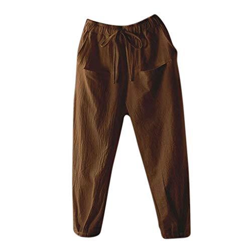 WOZOW Hosen Freizeithose Damen Harem Casual Solid Einfarbig Lose Bloomers Pockets Lang Long Mid Waist Saggy Aladdin Arbeitskleidung Crop Trousers Stoffhose Übergröße (2XL,Braun)