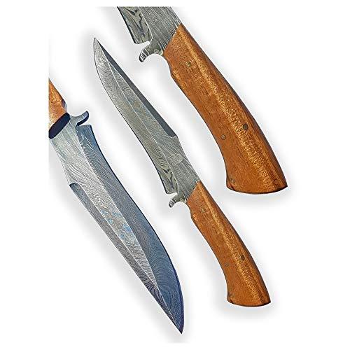 DELLINGER Lignum Vitae & Damastmesser & Damaststahl Messer & Outdoor Jagd Damastmesser 145 mm Klinge & inklusive Lederscheide