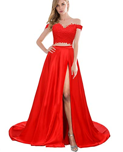 Red Whiter Formal Prom Dresses with Slit Long Two Piece Off Shoulder Evening Party Gown for Juniors