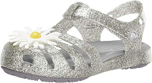 crocs Unisex-Kinder Isabella Charm Sandal K Clogs, Silber (Silver 040.), 23/24 EU