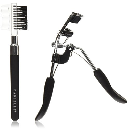 Danielle Creations Soft Touch Stainless Steel Duo Eyelash Curler Brow Brush Set, Black (D3530B)