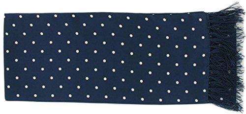 Une cravate étroite en soie bleue marine à pois Michelsons