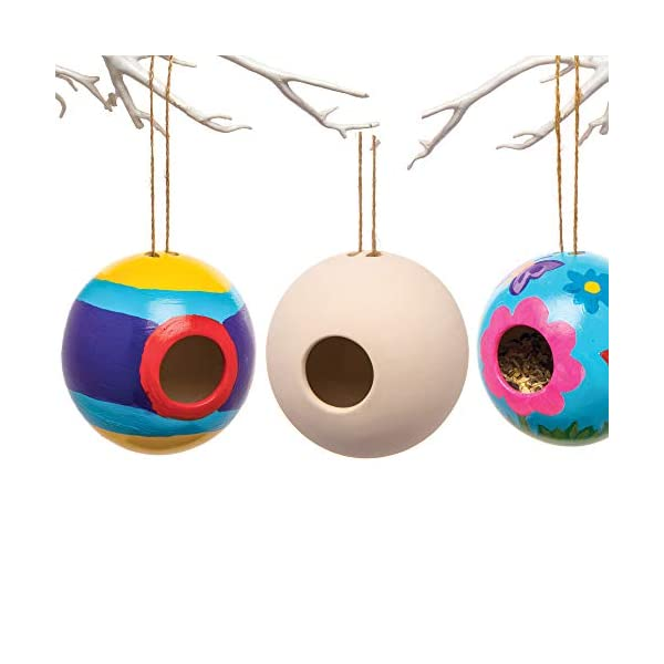 Baker Ross Ceramic Round Bird Houses (Box of 2) Spring Themed Crafts for Kids to Decorate and Personalise