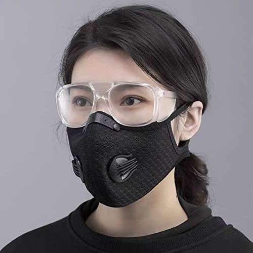 Dukars Sports Mask, Dustproof Mask Activated Carbon Filtration Exhaust Gas Anti Pollen Allergy PM2.5 Workout Running Motorcycle Cycling Mask (Black)