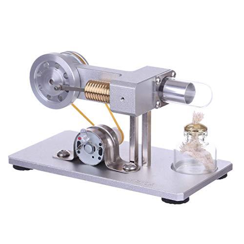 AMITD Stirling Motor Modellbau, Stirlingmotor Bausatz mit Messing Zylinder Stirling Motor Pädagogisches Spielzeug für Kinder und Erwachsene - Weiß