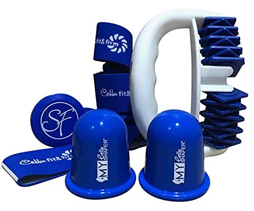 Stephanie Franck Beauty AntiCellulite Set2 - con 1 Rullo Massaggiante 2 Coppette e Fitness Elastica (Blu)