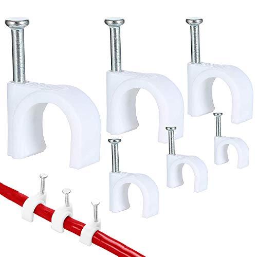Clip de cable redondo SANTOO 600 piezas con clavo de acero, abrazadera de cable, 4 mm   5 mm   6 mm   8 mm   10 mm, para fijación y organizador de cables, blanco