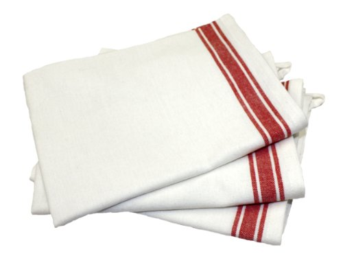 Aunt Martha's 18-Inch by 28-Inch Package of 3 Vintage Dish Towels, Red Striped