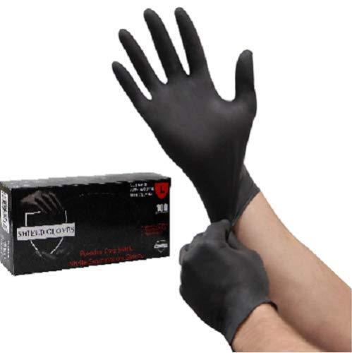 Shipping Supplies & Packaging Materials 100 Shield Nitrile 5mil Powder Free Gloves Black (Latex Vinyl Free) Medium Packaging and Packing Supplies Accessories