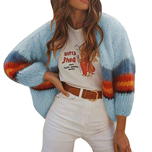 HULKY Cardigan Chandails Femmes Pulls Sweater Oversize À Manches Longues Pull en Maille À Rayures Color Block Nouveau Mode Casual Femmes Chandail Cardigan Outwear Tricot Manteau
