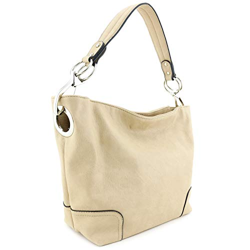 Hobo Shoulder Bag with Big Snap Hook Hardware (Beige)