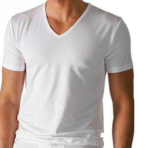 2er Pack Mey Herren Shirt - 46007 Serie Dry Cotton - Mit V-Ausschnitt - bi-elastisch - Angenehm kühl auf der Haut - Farbe Weiß - Größe 7