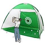 RASHION 2M Golf Golpear la Red al Aire Libre/Interior Jaula de práctica de Golf Plegable Conducir Golpear la Red Ayuda a la capacitación Alfombrilla de Ayuda Conductor Hierro (Green)
