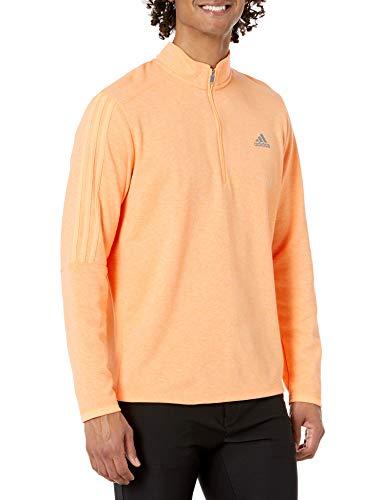 adidas Golf Men's 3-Stripes Recycled Polyester Quarter Zip Pullover, Orange, Large
