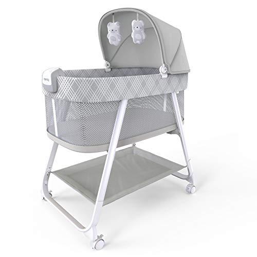 Ingenuity 12569 Lullanight Gem - Culla con vibrazioni calmanti e suoni delicati, 4 ruote e lati traspiranti, colore: grigio, 9,51 kg