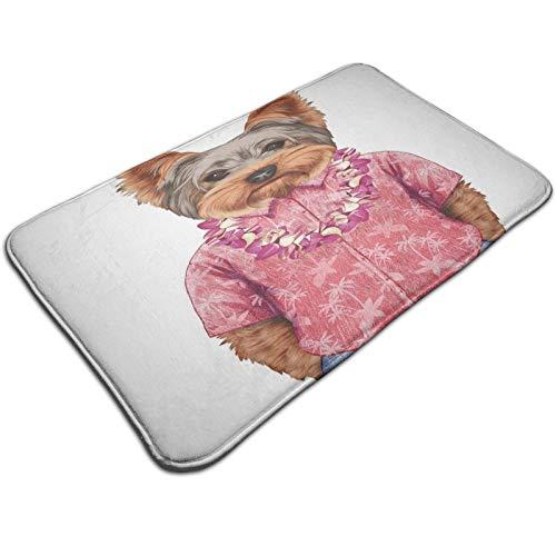 Felpudo de 60 x 40 cm, diseño de retrato de un perro en forma humanoide con una camisa rosa con imagen hawaiana Lei Fun Image lavable a máquina, alfombra absorbente decorativa de baño con motivos