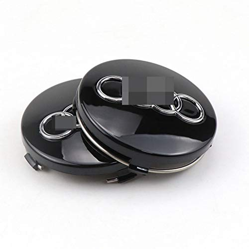 HHYM 4 PCS/Set Wheel Hub Caps Fit para Audi Wheel Hub Center Cover Car Coche Wheel Logo Accesorios de Estilo 60mm 326 (Color : Black)
