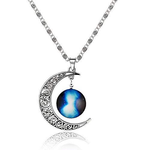 Collar Tipos Fantasy Space Planet Moon Collar Largo Mujer, Cool Time Gem Collares Pendientes para Mujer Sin Cuello Hombres Joyería Q34