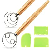 NiHome 2PCS Danish Dough Whisks+3PCS Dough Scrapers, Stainless Steel Bread Dough Hand Mixer Pastry Home Kitchen Restaurant Bakery Dutch Hook Double Eye Brodpisker Pizza Cake Dessert Biscuit Attom