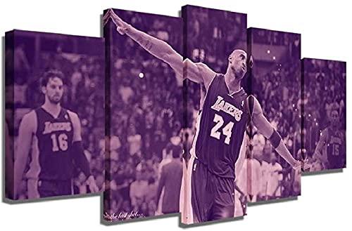 GUOJUNKE Cuadro De Lienzo De 5 Partes Kobe Bryant Lakers Basketball Mamba 5 Paneles Impresión De Arte De Pared Imagen Completa Carteles Impresos Obras De Arte