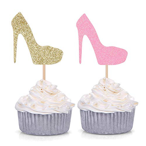 Pink and Gold Glittery High Heel Cupcake Toppers Stiletto Pump Decoration Picks for Wedding Engagement Bridal Shower Bachelor Party - Pack of 24