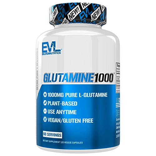 Evlution Nutrition Glutamine1000, 1 Gram of Pure L-Glutamine in Each Serving, Plant Based, Vegan, Gluten-Free, Veggie Capsules (60 Servings)