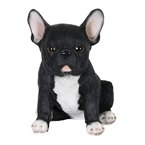 Exhart Hand Painted Black French Bulldog Puppy Statuary, 7 Inch