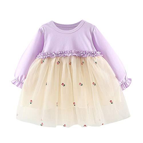 YWLINK Vestido De Fiesta De La Princesa del Tutú del Remiendo del Tul De Los NiñAs Moda Linda Vestido De Noche Bautizo Bebe Regalo Vestido De Novia Disfraz De Danza Ropa(Púrpura,0-6 meses/70)