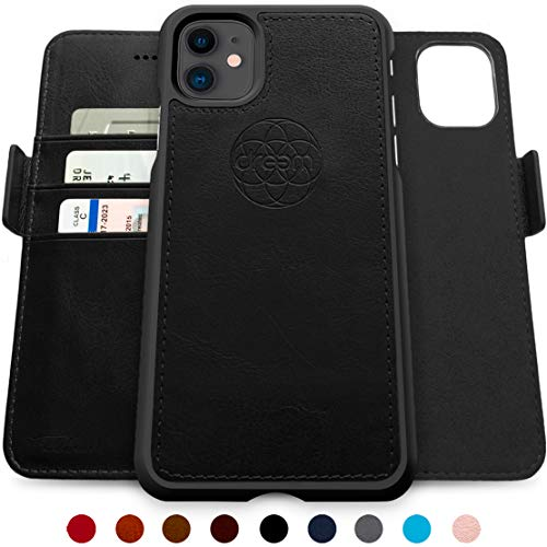 Dreem Fibonacci 2-in-1 Wallet-Case for iPhone 11, Magnetic Detachable Shock-Proof TPU Slim-Case, RFID Protection, 2-Way Stand, Luxury Vegan Leather, GiftBox - Black
