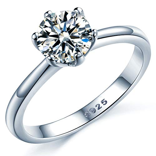 925 Sterling Silver Brilliant Round Cut Crystals Solitaire Promise Forever Eternity Engagement Wedding Rings for women (O)
