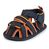 NewBorn Baby Boys Girls Outdoor PU Leather Rubber Sole Sandals,Infant Breathable Beach Anti-Slip First Walker Princess Mesh Summer Shoes (D-Orange, 0-6 months)