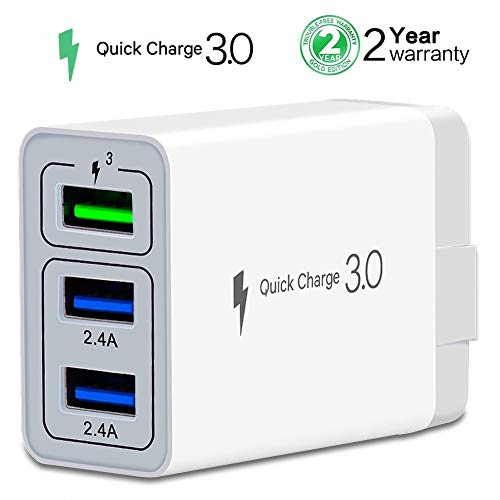 Wall Charger Fast Adapter,[ QC 3.0 + 2 USB ] Fast Wall Charger 3 Ports Tablet iPad Phone Fast Charger Adapter Quick Charge 3.0 Travel Plug Compatible Samsung, LG, HTC, iPhone More (1 Pack White)