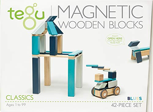 42 Piece Tegu Magnetic Wooden Block Set, Blues