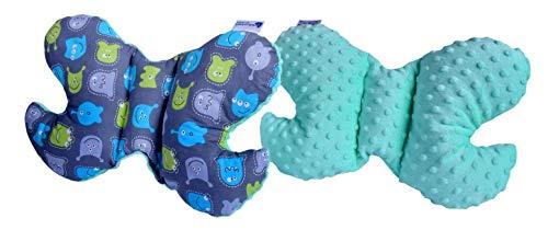 Medi Partner - Cojín de cabeza para bebé, diseño de mariposa, 100% algodón, para niños, reposacabezas para el cuello para el coche, viaje, dormir, cojín para el cuello