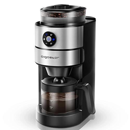 Aigostar Kaffa 30LHX - 2 en 1 Cafetera eléctrica con molinillo integrado. 680-820 W, 5 niveles de molienda. Sistema de goteo, capacidad 2-6 tazas. Función mantener caliente. Libre de BPA